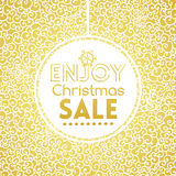 Gold Christmas Sale on doodle seamless pattern Stock Image