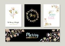 Gold Christmas set of floral illustration designs Stock Photo