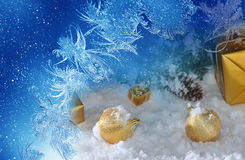 Gold  Christmas on snow Royalty Free Stock Images