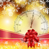 Gold Christmas with snowflakes and clock vector illustration background Royalty Free Stock Photos
