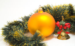 Gold christmas sphere Stock Image