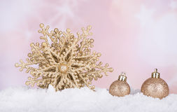 Gold Christmas Star and Baubles Stock Images