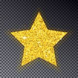 Gold Christmas star. Big golden star for fir tree. Sparkle with. Many little circle, with light effect isolated on blue background. Vector illustration Royalty Free Stock Photo