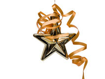 Gold Christmas Star with Ribbon Stock Images