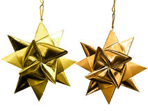 Gold Christmas stars. Stock Photo