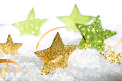 Gold Christmas stars Stock Photo