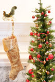 Gold Christmas stocking Stock Image