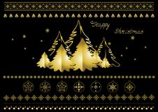 Gold Christmas symbols, snowflakes, Christmas trees, borders and greetings. Collection of gold Christmas symbols, snowflakes, Christmas trees, borders, garlands Royalty Free Stock Image