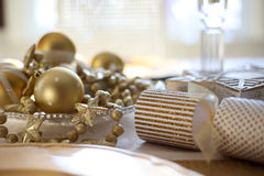 Gold Christmas table decor stock photography
