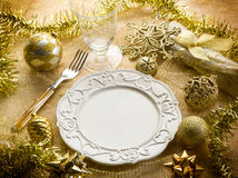Gold christmas table Royalty Free Stock Images