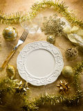 Gold christmas table Royalty Free Stock Photography