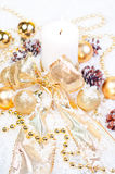 Gold Christmas  theme on snow Royalty Free Stock Photos