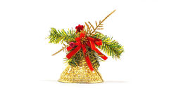 Gold Christmas toy bell Royalty Free Stock Image