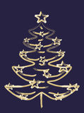 Gold Christmas tree. With stars,place for text Royalty Free Stock Photo