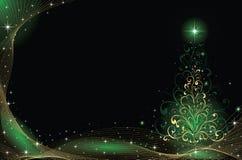 Gold Christmas tree Stock Photography