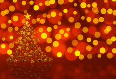 Gold Christmas Tree. On red with bokeh royalty free illustration