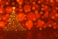 Gold Christmas Tree. On red with bokeh stock illustration