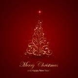 Gold Christmas tree Stock Image