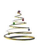 Gold Christmas tree. 3D render of a Gold Christmas tree isolated white Stock Images