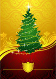 Gold christmas tree. The image of gold Christmas fur-tree, a classical plot, the vector image, an additional format avalible. May be used as a greeting card or Stock Photos