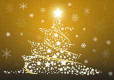 Gold christmas tree background. With stars Royalty Free Stock Image