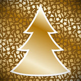 Gold Christmas tree on background with christmas symbols Royalty Free Stock Image