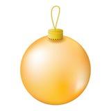 Gold Christmas tree ball realistic  illustration. Stock Photography