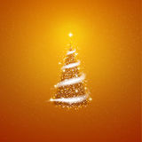 Gold Christmas tree  blizzard stars background.  Royalty Free Stock Photos