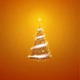 Gold Christmas tree  blizzard stars background Royalty Free Stock Photos