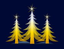 Gold Christmas Tree on Blue Card vector illustration