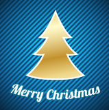 Gold Christmas tree on blue striped background Royalty Free Stock Images