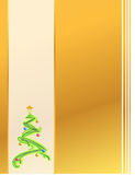 Gold Christmas tree card illustration Stock Photos