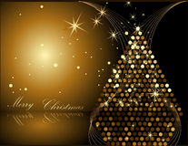 Gold Christmas tree. Made of circles Stock Photography
