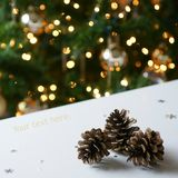 Gold Christmas Tree Pine Cones Royalty Free Stock Image