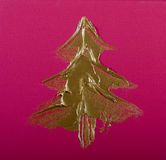Gold  Christmas Tree on pink Stock Images