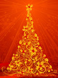 Gold Christmas tree. Red Christmas background with ornate Christmas tree of holly berries Royalty Free Stock Photo