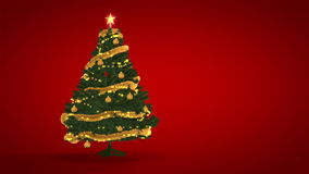 Gold Christmas Tree on red background Royalty Free Stock Images