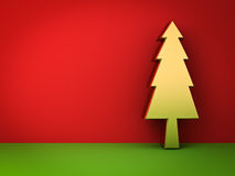 Gold christmas tree on red and green background with shadow for christmas decoration Royalty Free Stock Images
