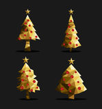 Gold christmas tree set polygon triangle low poly Royalty Free Stock Photo