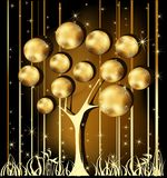 Gold Christmas tree. With stars Royalty Free Stock Photography