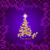 Gold christmas tree and stars. Illustration in lilac and gold colors. Abstract background with gold christmas tree and stars. Illustration in lilac and gold stock illustration