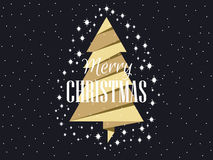 Free Gold Christmas Tree With Stars. Merry Christmas. Vector Royalty Free Stock Image - 82662746