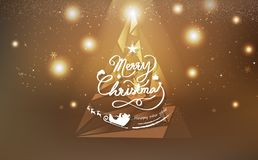 Gold Christmas, triangle tree polygon design luxury decoration royalty free illustration