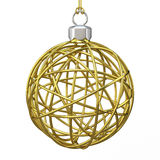 Gold Christmas wire ball. 3D render Royalty Free Stock Image