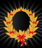 Gold christmas wreath Royalty Free Stock Image
