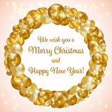 Gold Christmas wreath Stock Photos