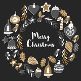 Gold Christmas wreath with christmas bells, snowflakes, candy Holly jolly Merry Christmas and Happy New Year Isolated on. Gold Christmas patterns with christmas stock illustration