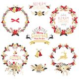 Gold Christmas Wreath Collections Stock Images