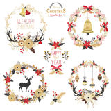 Gold Christmas Wreath Elements. A vector illustration of Gold Christmas Wreath Elements. Perfect for new year, christmas, greeting card and many more Royalty Free Stock Photos