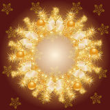 Gold Christmas wreath Royalty Free Stock Photo